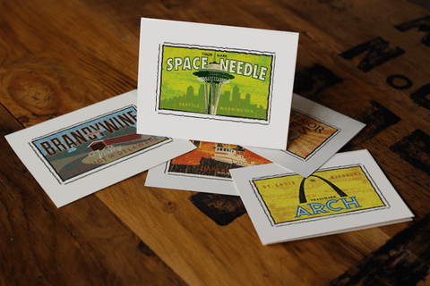 space needle fruit crate label notecards