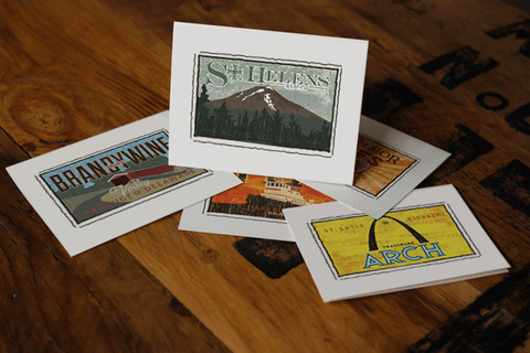 mount st. helens fruit crate label notecards