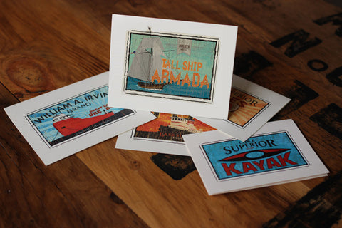 tall ships duluth fruit crate label notecards