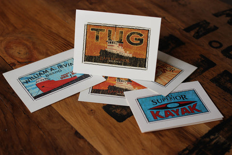 lake superior tug fruit crate label notecards