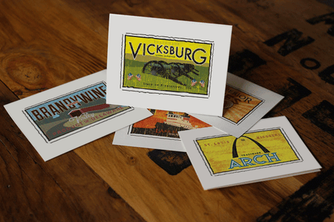 vicksburg national military park fruit crate label notecards