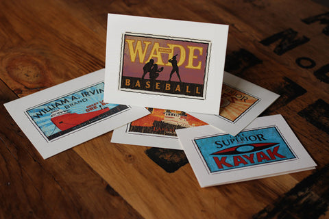 wade stadium fruit crate label notecards