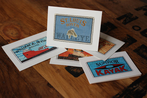 st. louis river walleye fruit crate label notecards