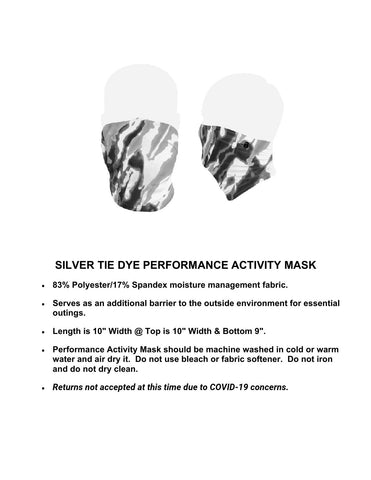 SILVER TIE DYE PERFORMANCE ACTIVITY MASK - ONLY 3 LEFT IN STOCK