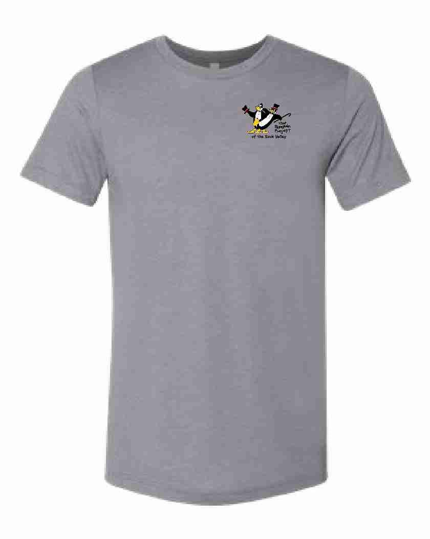 THE PENGUIN PROJECT OF THE SAUK VALLEY t-shirt fundraiser - STONE GREY - ADULT SIZES