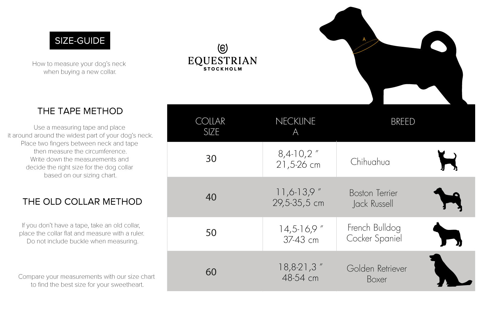 equestrian stockholm dog collar size guide