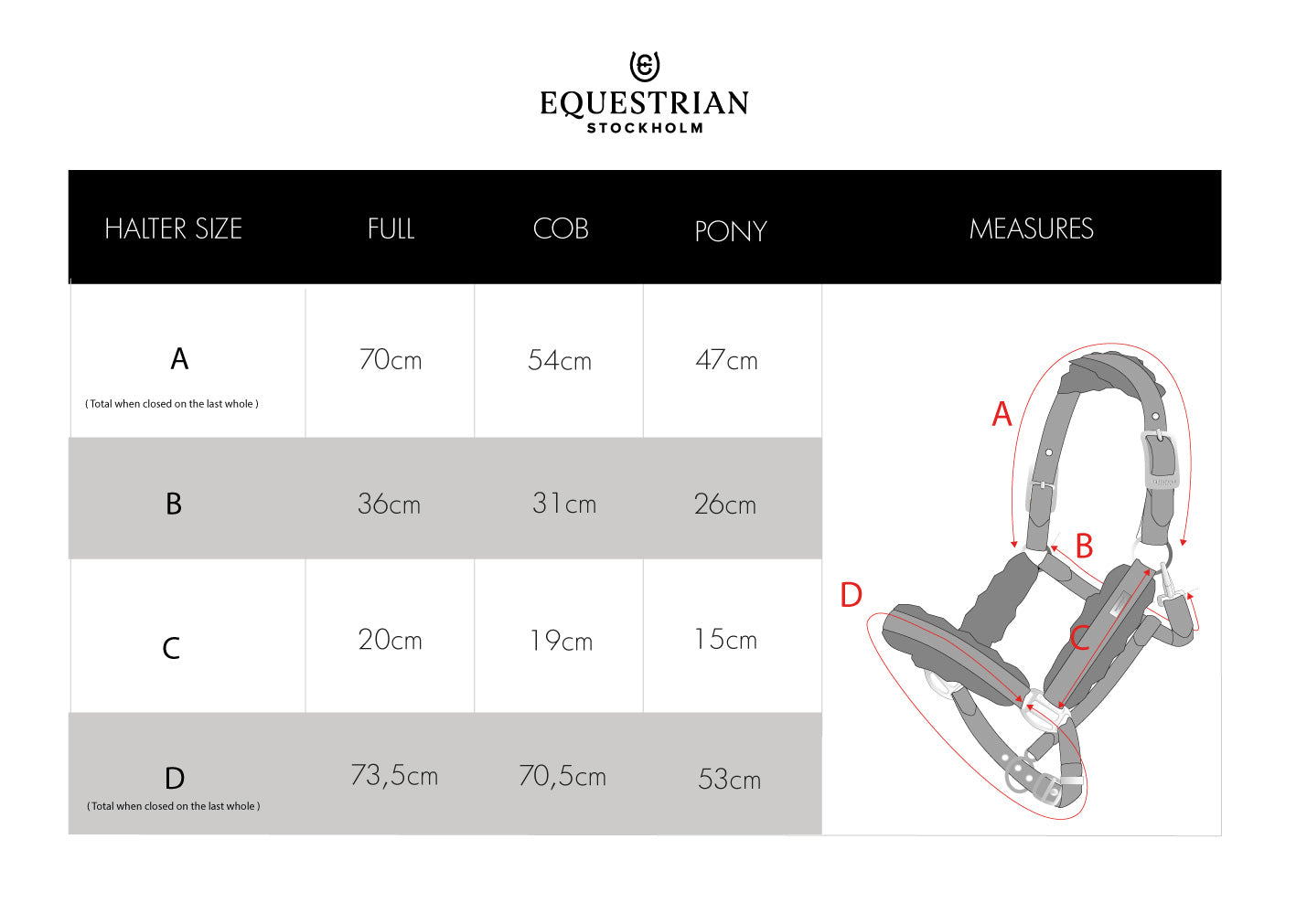 equestrian stockholm headcollar size guide