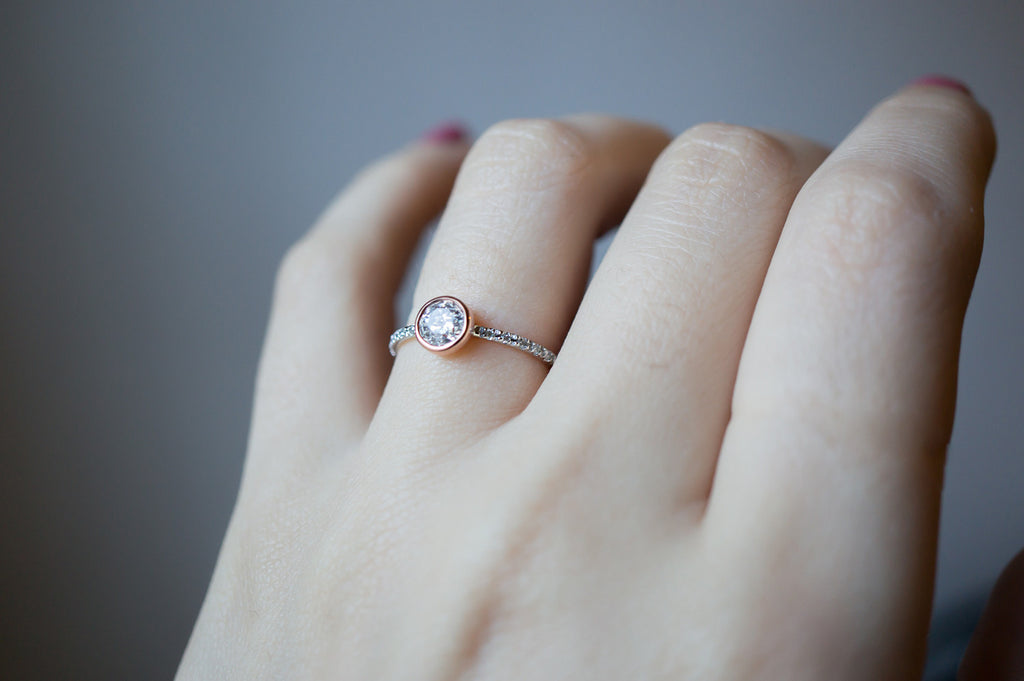 Half Carat Rose Gold Bezel Diamond Engagement Ring – S. Kind   Co c0ceba3a73
