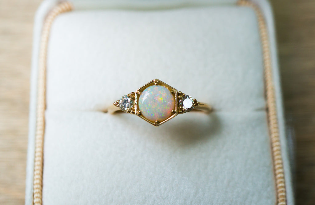 diamond products rings opal ring gold halo boylerpf engagement estate
