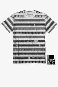 Crew Neck T Shirt with B&W 35mm Leader Stripes (Pattern #2, Light Grey Stripes)