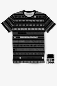 Crew Neck T Shirt with B&W 35mm Countdown Leader Stripes on Black