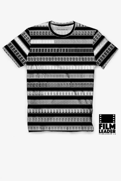 Crew Neck T Shirt with B&W 35mm Negative Leader Stripes on Black