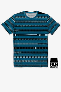 Crew Neck T Shirt with B&W 35mm Leader Stripes on Cerulean Blue