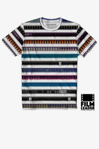 Crew Neck T Shirt with Multicolored 35mm Leader Stripes, #1
