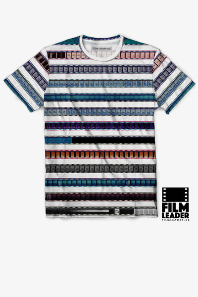 Crew Neck T Shirt with Multicolored 35mm Leader Stripes on White, #2