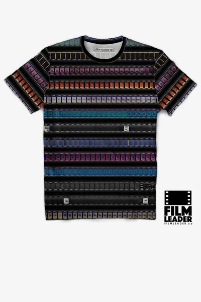 Crew Neck T Shirt with Multicolored 35mm Leader Stripes on Black