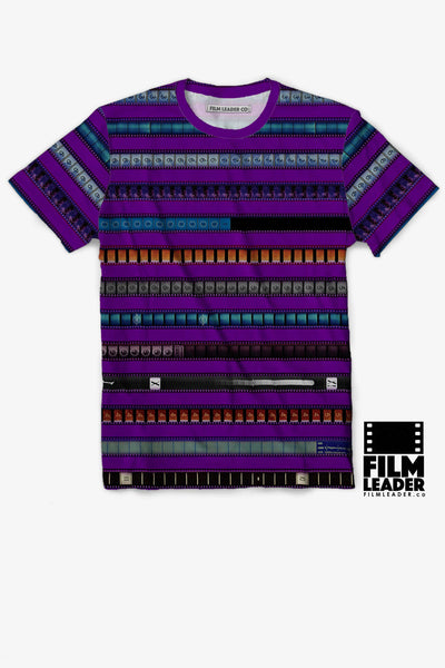 Crew Neck T Shirt with Multicolored 35mm Leader Stripes on Strong Purple