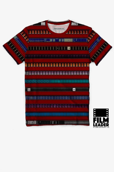 Crew Neck T Shirt with Multicolored 35mm Leader Stripes on Crimson Red