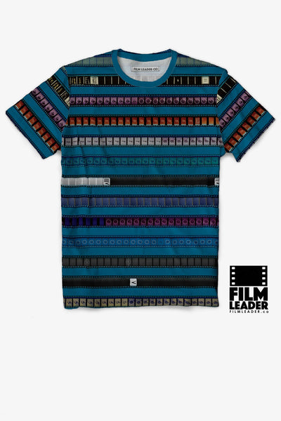 Crew Neck T Shirt with Multicolored 35mm Leader Stripes on Cerulean Blue