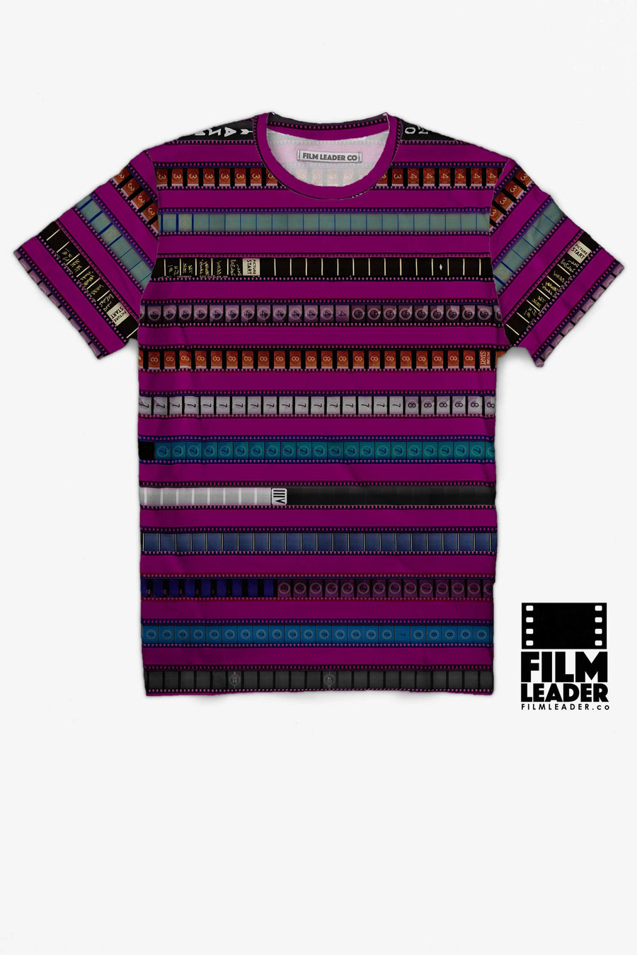 Crew Neck T Shirt with Multicolored 35mm Leader Stripes on Strong Fuchsia