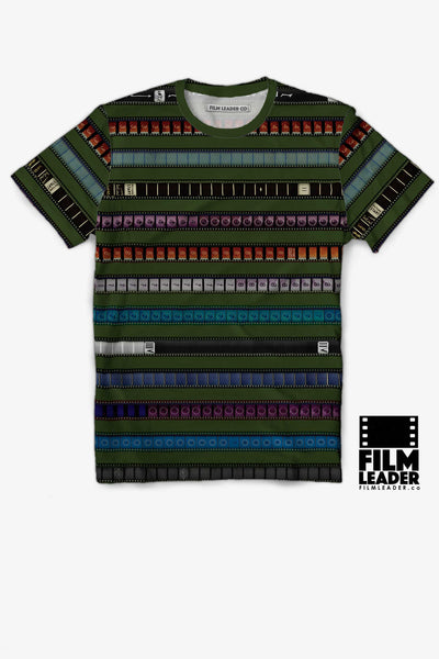 Crew Neck T Shirt with Multicolored 35mm Leader Stripes on Turtle Green