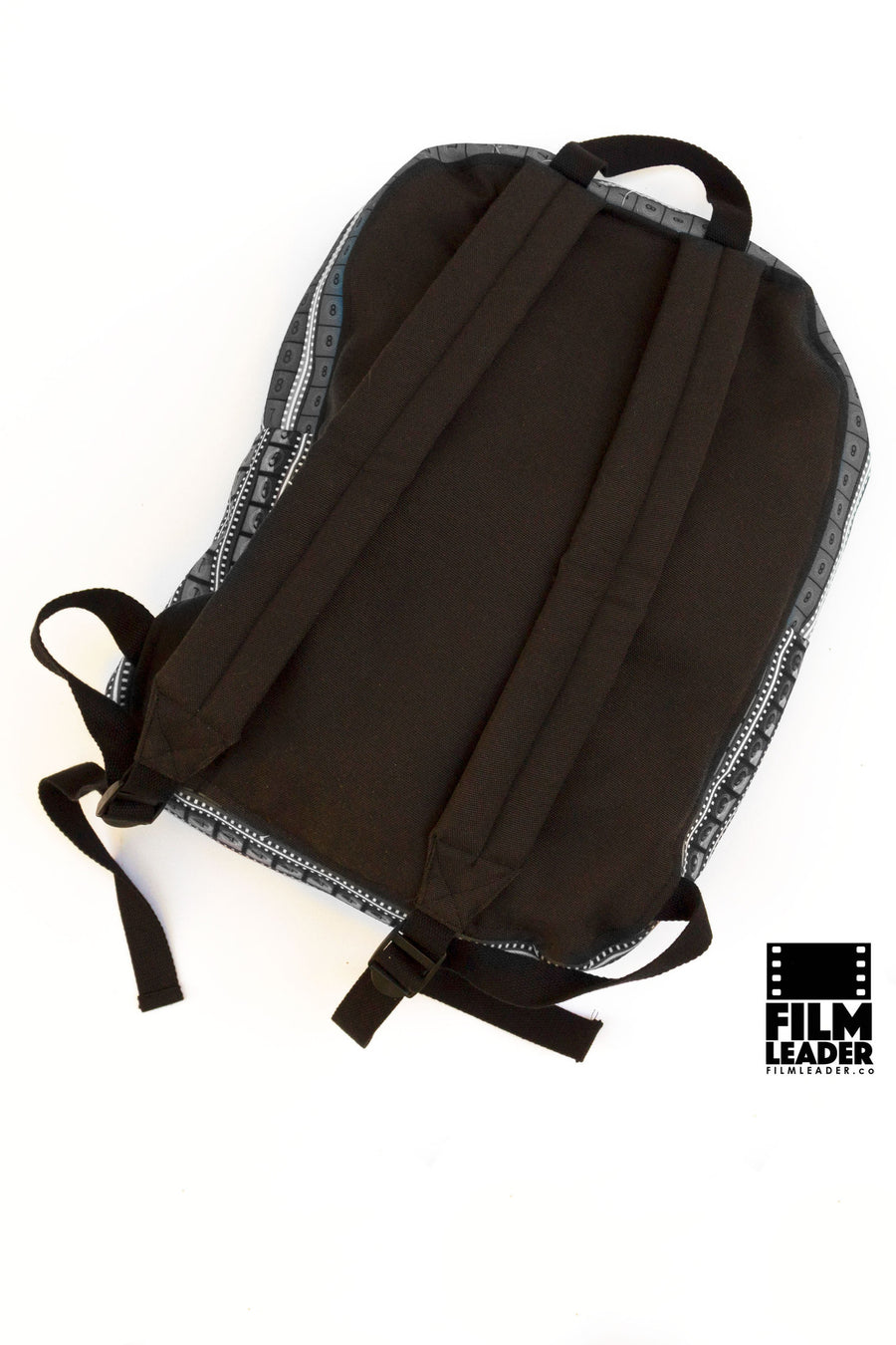 Backpack with Vertical B&W 35mm Countdowns on White (Tight Stripe)