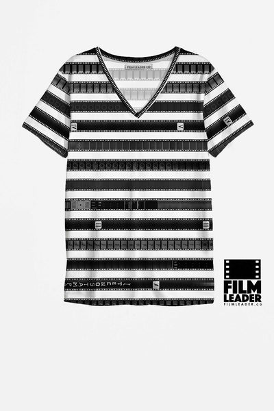 V Neck T Shirt with B&W 35mm Leader Stripes on White (Pattern #1, Dark Stripes)