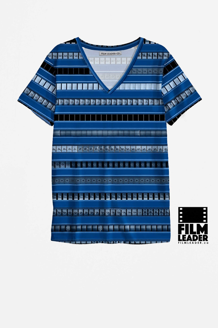 V Neck T Shirt with B&W 35mm Leader Stripes on Congress Blue