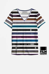 V Neck T Shirt with Multicolored 35mm Leader Stripe Pattern #1