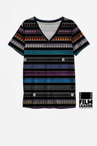 V Neck T Shirt with Multicolored 35mm Leader Stripes on Black