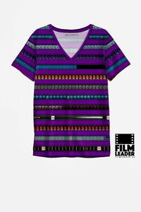 V Neck T Shirt with Multicolored 35mm Leader Stripes on Purple
