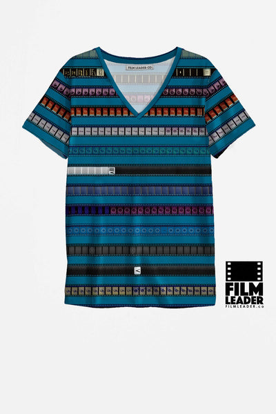 V Neck T Shirt with Multicolored 35mm Leader Stripes on Cerulean Blue