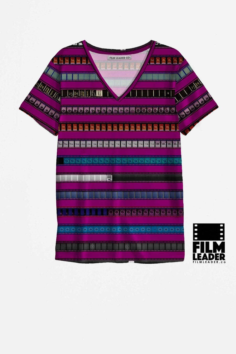 V Neck T Shirt with Multicolored 35mm Leader Stripes on Strong Fuchsia
