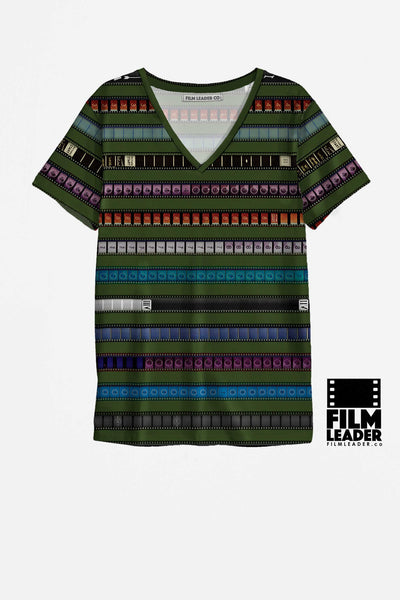 V Neck to Shirt with Multicolored 35mm Leader Stripes on Turtle Green