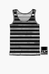 Tank Top with B&W 35mm Negative Leader Stripes on Black