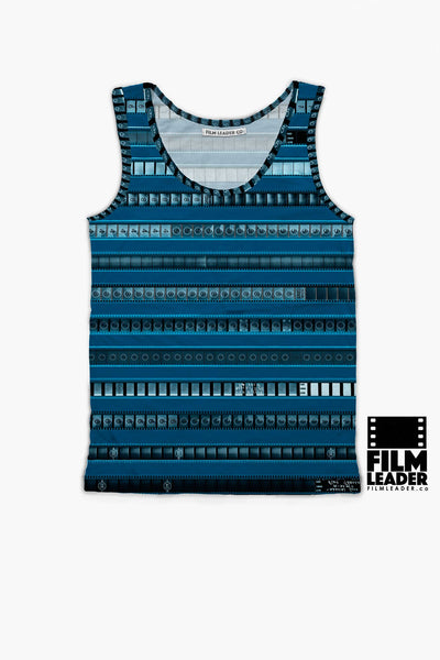 Tank Top with B&W 35mm Leader Stripes on Cerulean