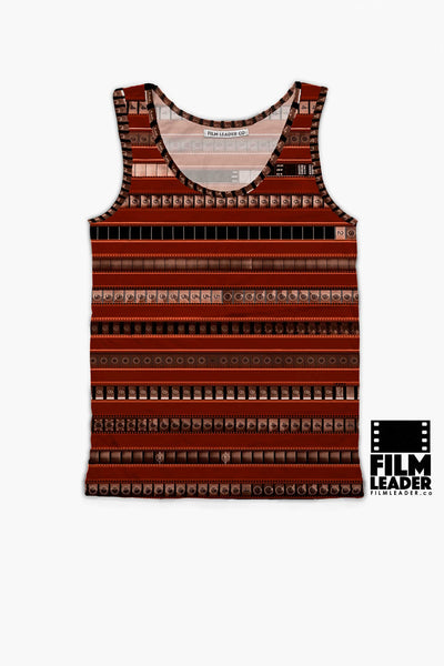 Tank Top with B&W 35mm Leader Stripes on Sienna Red