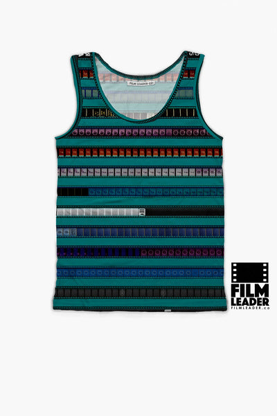 Tank Top with Multicolored 35mm Leader Stripes on Teal