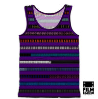 Tank Top with Multicolored 35mm Leader Stripes on Purple