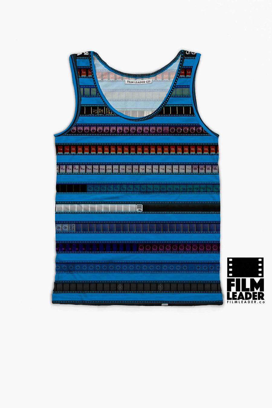 Tank Top with Multicolored 35mm Leader Stripes on Pacific Blue