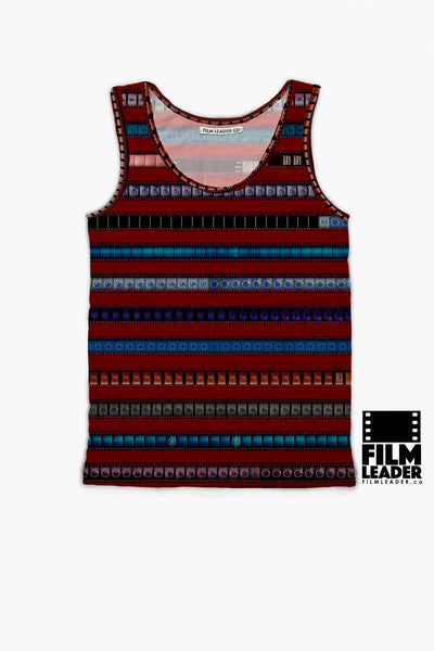 Tank Top with Multicolored 35mm Leader Stripes on Crimson Red