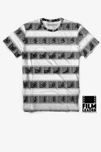 Crew Neck T Shirt with B&W 15/70mm Countdown Stripes