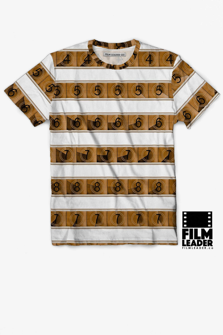 Crew Neck T Shirt with Sepia 15/70mm Countdown Stripes