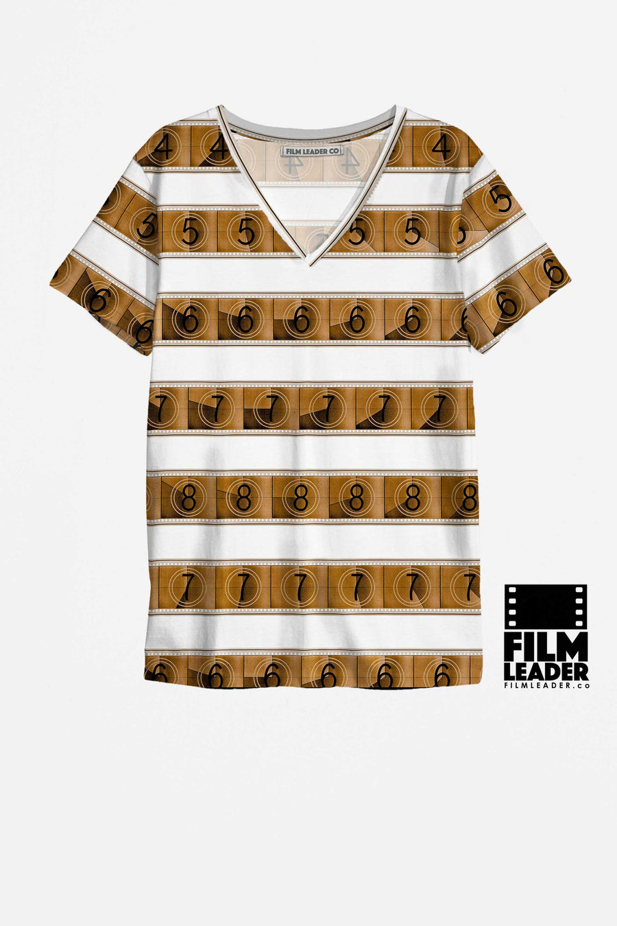 V Neck T Shirt with Sepia 15/70mm Countdown Stripes