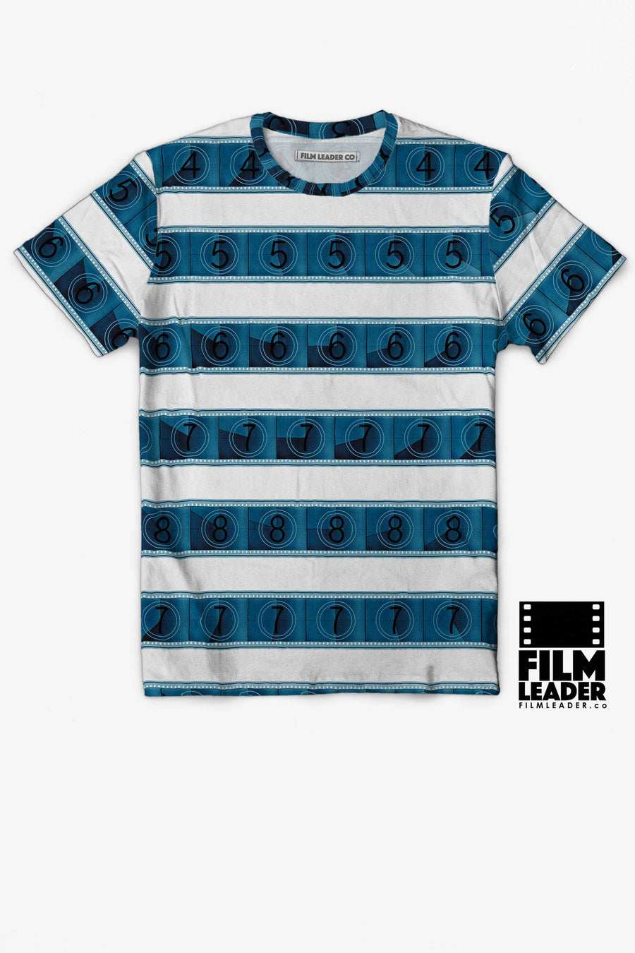 Crew Neck T Shirt with Blue 15/70mm Countdown Stripes
