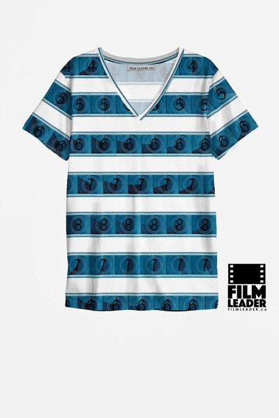 V Neck Shirt with Blue 15/70mm Countdown Stripes