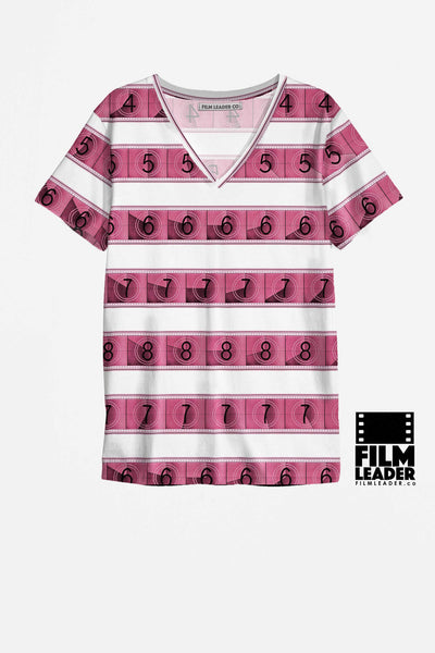 V Neck T Shirt with Pink 15/70mm Countdown Stripes