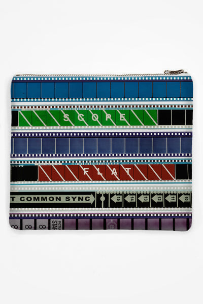 Neoprene Clutch with 35mm Heads & Tails #1 (Narrow Stripe)