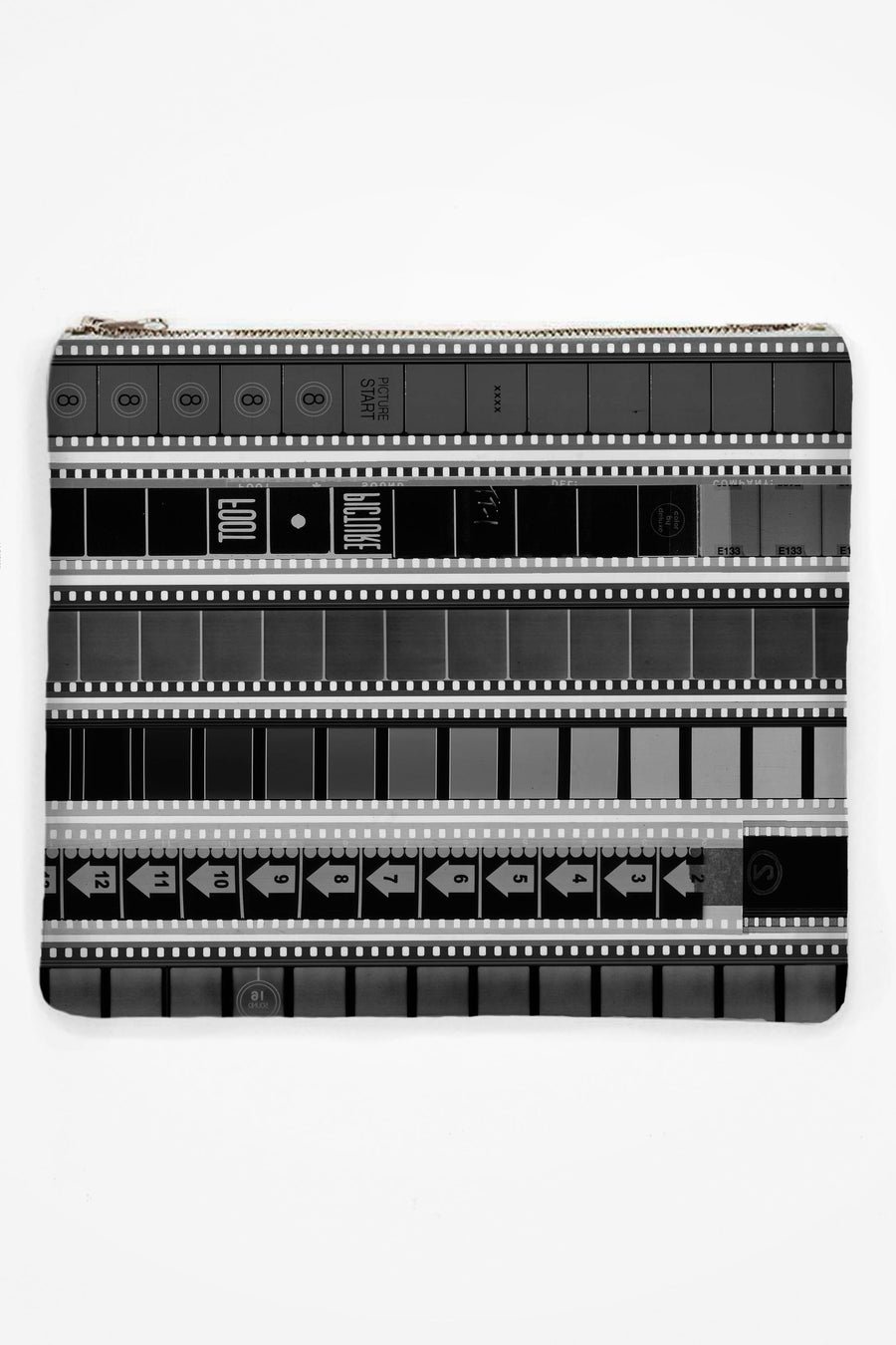 Neoprene Clutch with B&W 35mm Heads & Tails #1 (Narrow Stripe)