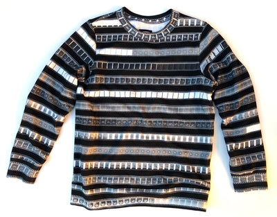 Classic Sweatshirt with B&W 35mm Negative Leader Stripes on Black